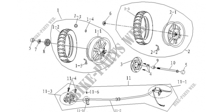 FRONT / REAR WHEELS / BRAKES for Mash SIXTY FIVE 125 (4T) 125 2014